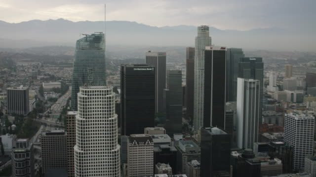 Aerial flying over Downtown Los Angeles, CA morning