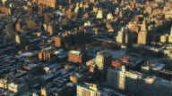 Aerial flying over downtown Manhattan and Washington Square Park New York, NY covered in snow