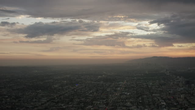 Aerial flying over Los Angeles, CA sunset