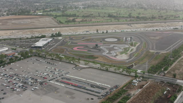 Aerial flying over Porsche race track Los Angeles, CA