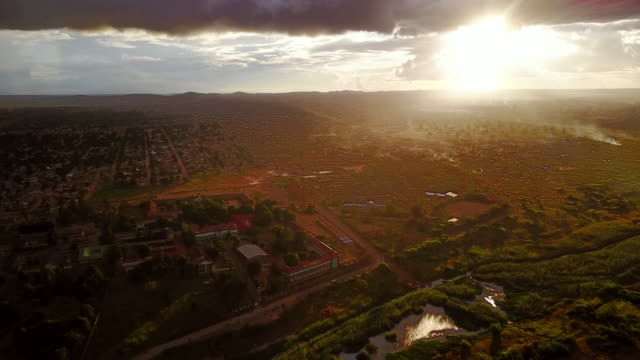 Aerial flying over residential area view into the country, daytime Lubumbashi, Congo, Africa