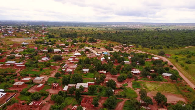 Aerial flying over rural area, in Congo Africa daytime