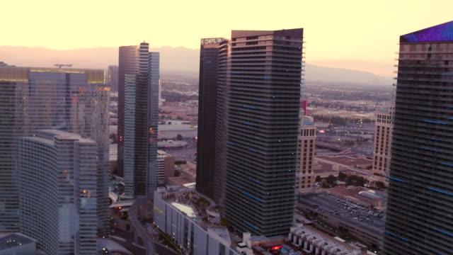 Aerial flying over The Las Vegas Strip, Sunset