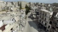 Aerial footage of Aleppo Syria which has seen heavy destruction due to air strikes