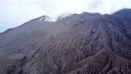 Aerial footage of barren volcanic landscape at Sakurajima volcano in Japan