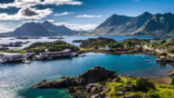 Aerial footage of picturesque coastline on the Lofoten Islands in Norway