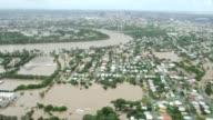 Aerial footage of residential suburbs inundated as flood waters devastate much of Brisbane on January 13 2011 Brisbane Queensland Australia