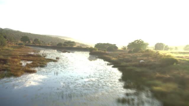 Aerial footage over African landscape