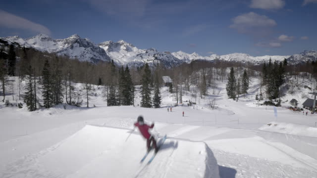 Aerial Freestyle skier doing the backflip in the snow park