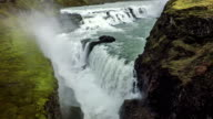Aerial Gullfoss Waterfall in Iceland