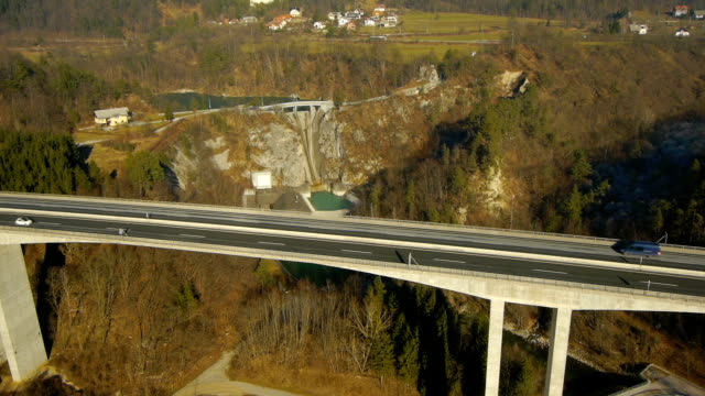 Aerial HD: Tilt Down and Pan Over Viaduct