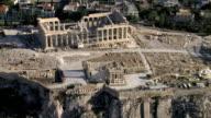 Aerial HD video of the Acropolis focusing on the Parthenon the house of the goddess Athena / Acropolis, Athens, Greece
