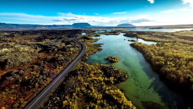 Luchtfoto IJsland landschap in Myvatn