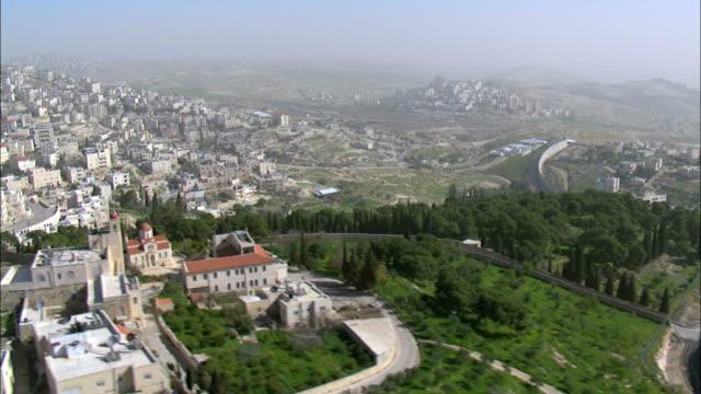 Aerial Israeli West Bank wall, Jerusalem, Israel