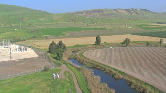 Aerial Jordan River in Upper Galilee, Israel