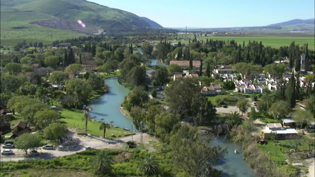 Aerial Kibbutz Nir David in the Eastern Jezreel valley, Galilee, Israel