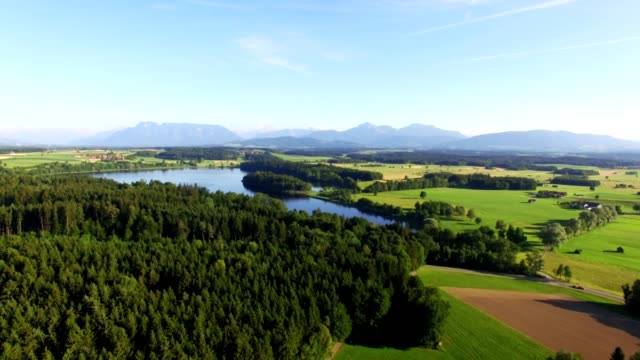 Aerial: Lake Abtsee, Bavaria in summer