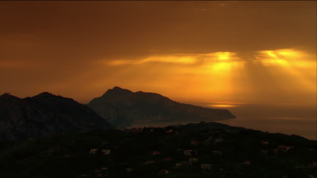 Aerial long shot view of sunset over Capri from Amalfi Coast / Italy