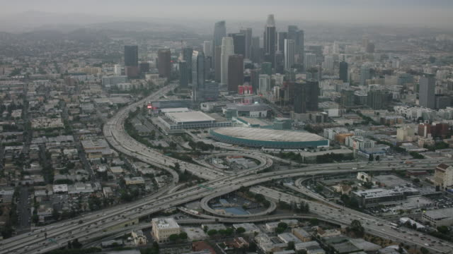 Aerial looking at Downtown Los Angeles, CA morning