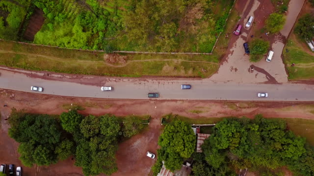 Aerial looking directly down on street with cars, Lubumbashi, Congo, in Africa