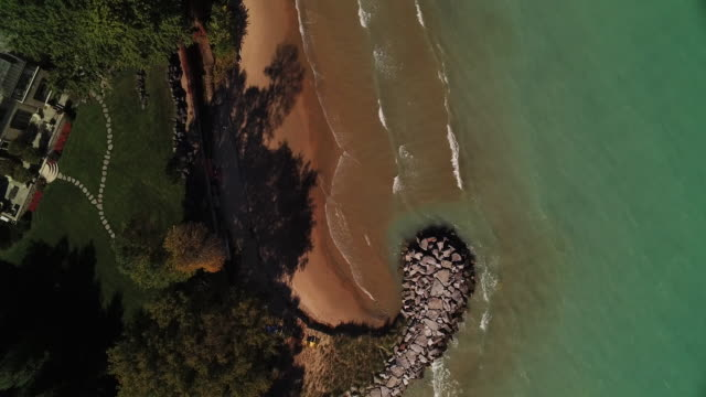 Aerial looking directly down on Wilmette homes on shores of Lake Michigan