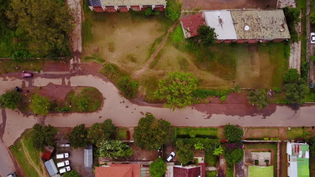 Aerial looking directly down residential area, Lubumbashi, Congo, in Africa