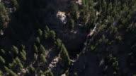 Aerial Looking down on waterfall