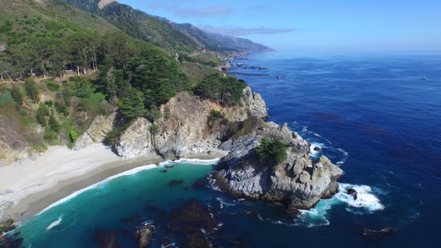 Aerial Medium Pan Left Tilt Down: 4K UHD McWay Falls coast to waterfall