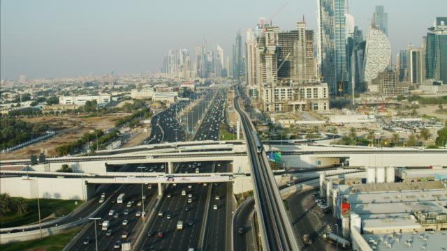 Aerial motion train Dubai Metro Rail Sheikh Zayed
