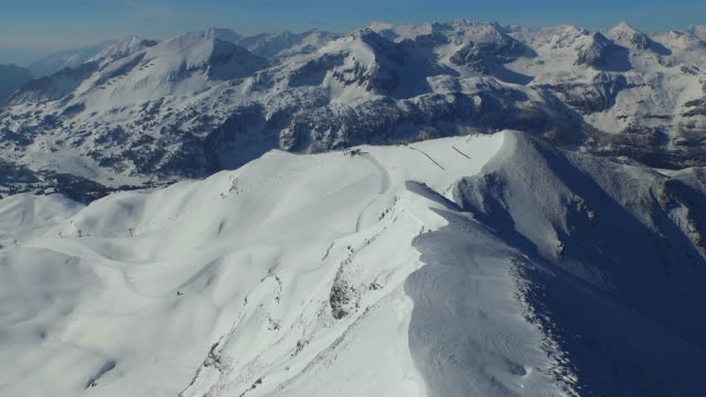 aerial mountain landscape with snow