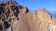 Aerial mountain peaks in the Judea Desert, track forward to reveal the Dead Sea, Ein Gedi, Judea Desert, Israel