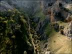 Aerial mountain valley, Parque Natural Sierras Subbeticas (Cordoba), Andalucia, Spain
