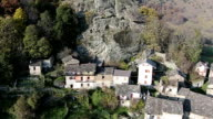 Aerial - mountain villages in italian Alps