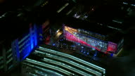 Aerial Night shots Sky Studios and Sky campus lit up ahead of Battle for No 10 debate on March 26 2015 in London England