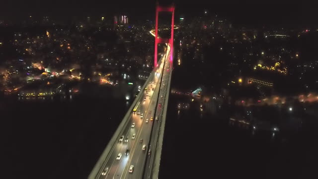 Aerial night time views of Istanbul Turkey