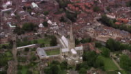 Aerial Norwich Cathedral with labyrinth in cloisters / Norwich, England