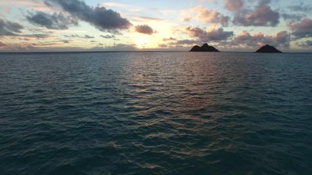 Aerial, ocean sunset