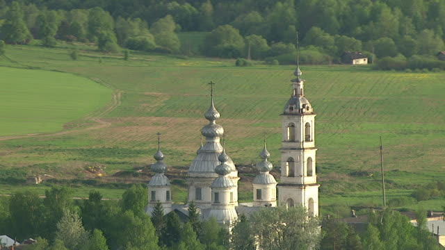 Aerial of a Church next to Volga river. Russia