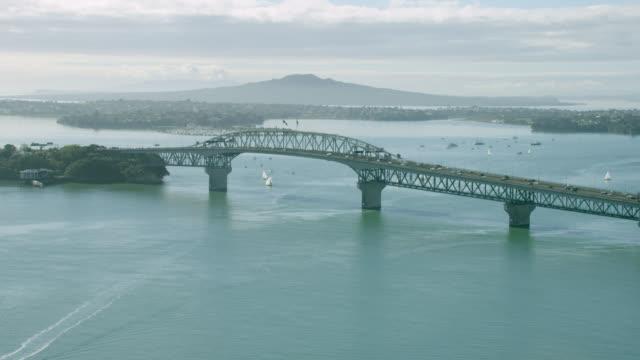 Aerial of Auckland Harbour Bridge and Rangitoto Island.