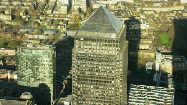 Aerial of buildings in financial district Canary Wharf