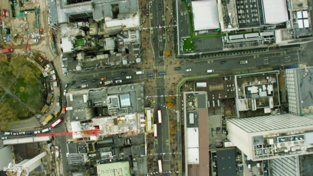 Aerial of busy streets and buildings in London