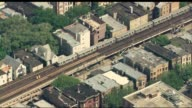 Aerial of Chicago's Red Line near Wrigley Stadiumon June 24 2014 in Chicago