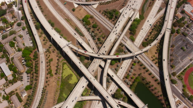 Aerial of circle interchange in Downtown Miami FL