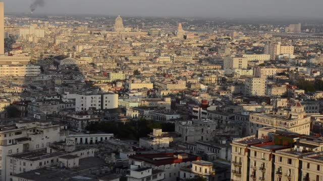 Aerial of city of Havana Cuba with the bay and downtown