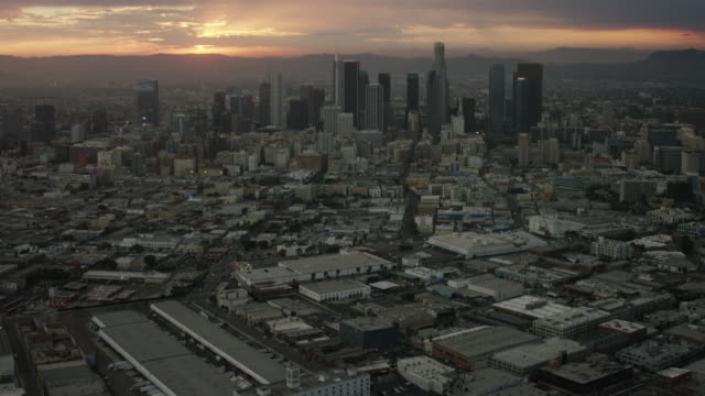 Aerial of Downtown Los Angeles, CA sunset