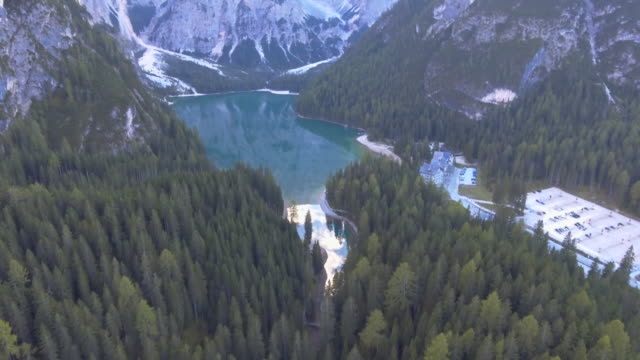 Aerial of flying mountain lake view