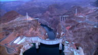 Aerial of Hoover Dam at Sunset