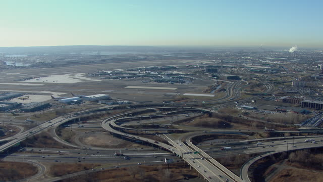Aerial of interchange approaching Newark International Airport.