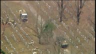 KTVI Aerial of knocked over or damaged headstones at a Historic Jewish Cemetery Chesed Shel Emeth Cemetery in St Louis's University City on Feb