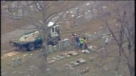 KTVI Aerial of knocked over or damaged headstones at Historic Jewish Cemetery Chesed Shel Emeth Cemetery in St Louis's University City on Feb